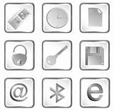 Vector white square web buttons set 3