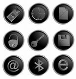 Vector black round web buttons set 3