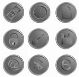 Vector grey round web buttons set 3