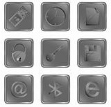 Vector grey square web buttons set 3