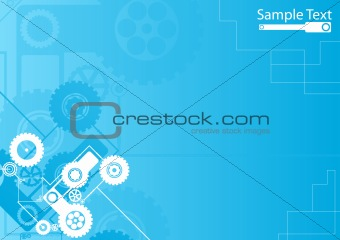 Technological clockwork blue background