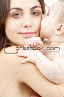 portrait of happy mother with baby