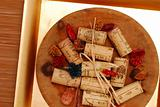 Corks and Golden plate
