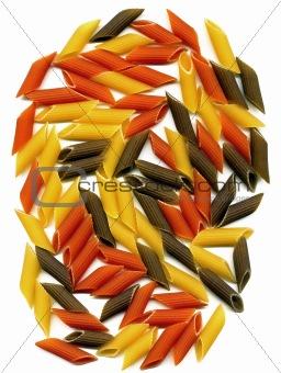 three colour penne italian pasta