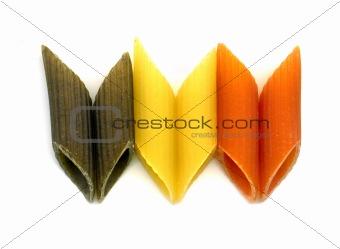 three colours penne italian pasta