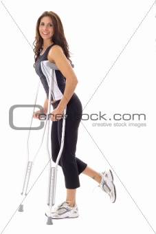 shot of a happy fitness woman on crutches