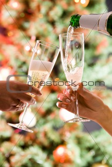 Pouring a champagne