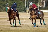 Players Cross Mallets in Polo Match