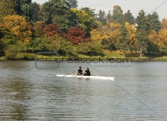 Pair Rowing In Autumn