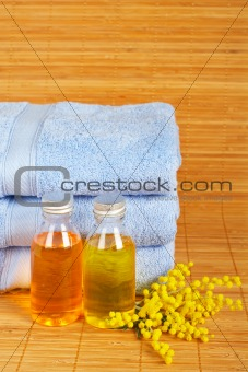 Towels and soap bottles