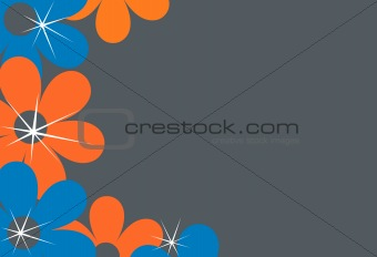 An Orange and gray flower background illustration