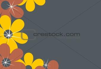 An Orange and gray flower background illustration