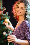 Woman and christmas-tree