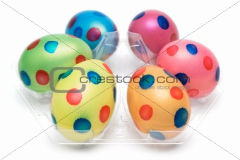 Six Dotted Easter Eggs