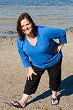 Plus Sized Fitness- Stretch on Beach