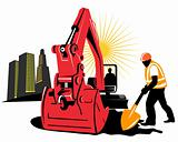 Mechanical digger with building and worker