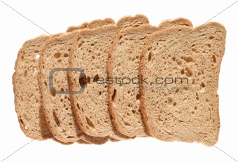 sliced brown loaf, isolated