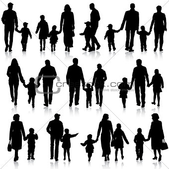 Black silhouettes Family on white background. Vector illustratio