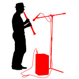 Silhouette musician plays the clarinet. Vector illustration.