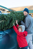 family buying christmas tree