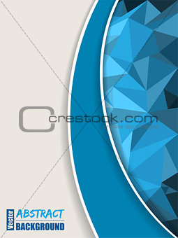 Abstract blue brochure with polygons and blue stripe