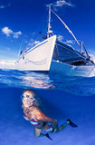 A beautiful blonde free diver