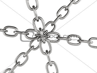 Six metal chains joined together