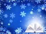Christmas background of blue color with magic book