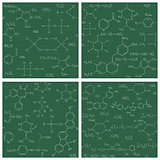 Set of seamless vector backgrounds with chemistry formulas and e