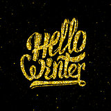 Hello winter gold glittering lettering design