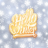 Hello winter golden typography label. Greeting card