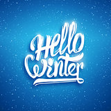 Hello winter greeting card. Vector background
