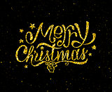 Merry Christmas gold glittering lettering design