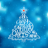 Very Merry Christmas typography. Greeting card