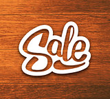 Vintage Sale banner, sticker on wood background