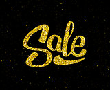 Christmas Sale gold glittering lettering design