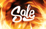 Sale inscription in fire flames. Vector banner