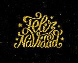Feliz Navidad gold glittering lettering design