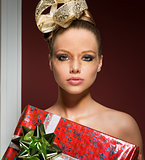 sensual girl in creative christmas shoot