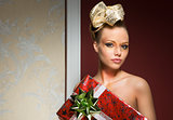 girl with creative xmas style and gift