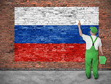 House painter paints flag of Russia