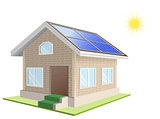 Vacation home. Solar panels on roof. Solar power