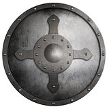 metal round crusader shield isolated