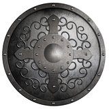 metal round shield with cross and pattern