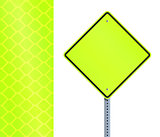 Yellow fluorescent road sign