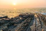 orange sunset over the sea and the bright sun