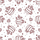 Christmas seamless pattern with cups and cookies