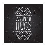 Winter hugs - typographic element