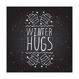 Winter hugs - typographic element
