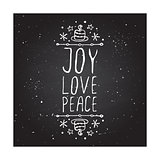 Joy love peace - typographic element